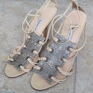 Manolo Blahnik cream strappy snakeskin heels 9